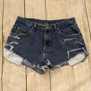 Wrangler Distressed Fringed Hem Dark Wash Shorts